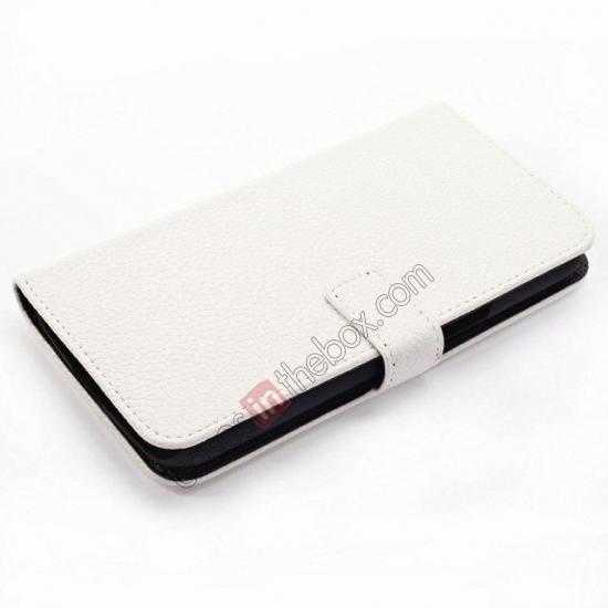 top quality Litchi Wallet Leather Stand Case For Samsung Galaxy Grand 2 G7106 - White