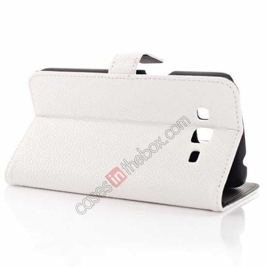 best price Litchi Wallet Leather Stand Case For Samsung Galaxy Grand 2 G7106 - White