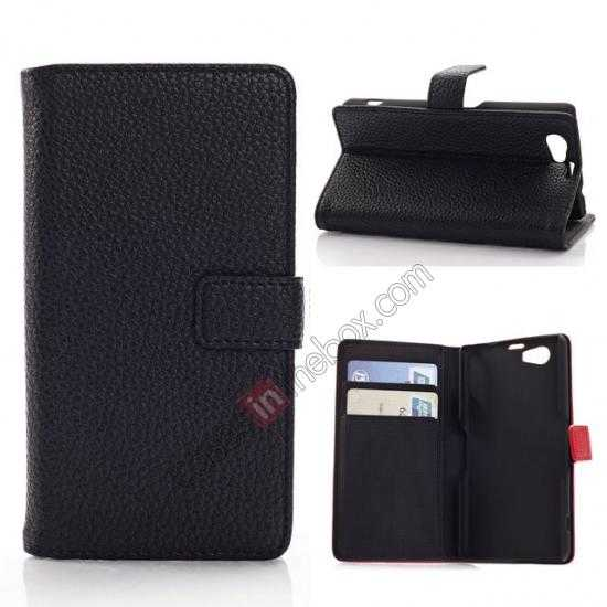 wholesale Litchi Wallet Leather Stand Case For Sony Xperia Z1 Mini/Z1 Compact/M51w - Black