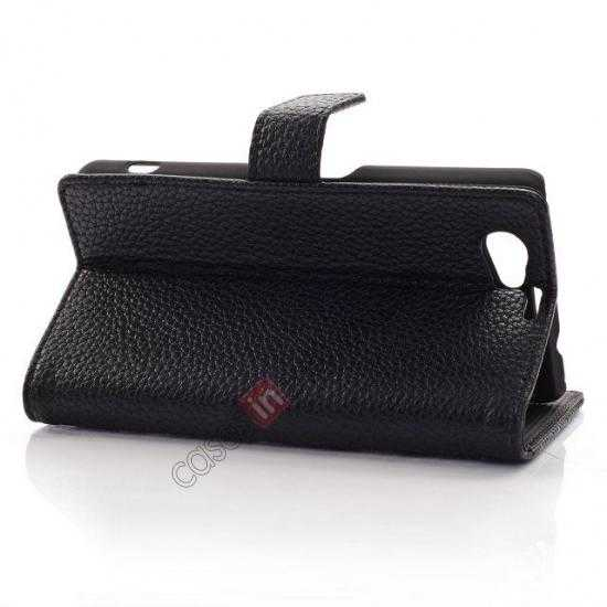 discount Litchi Wallet Leather Stand Case For Sony Xperia Z1 Mini/Z1 Compact/M51w - Black