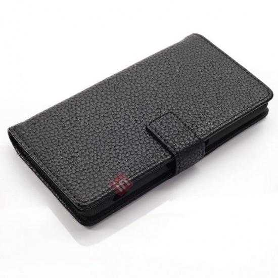 top quality Litchi Wallet Leather Stand Case For Sony Xperia Z1 Mini/Z1 Compact/M51w - Black