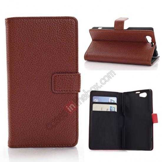wholesale Litchi Wallet Leather Stand Case For Sony Xperia Z1 Mini/Z1 Compact/M51w - Brown