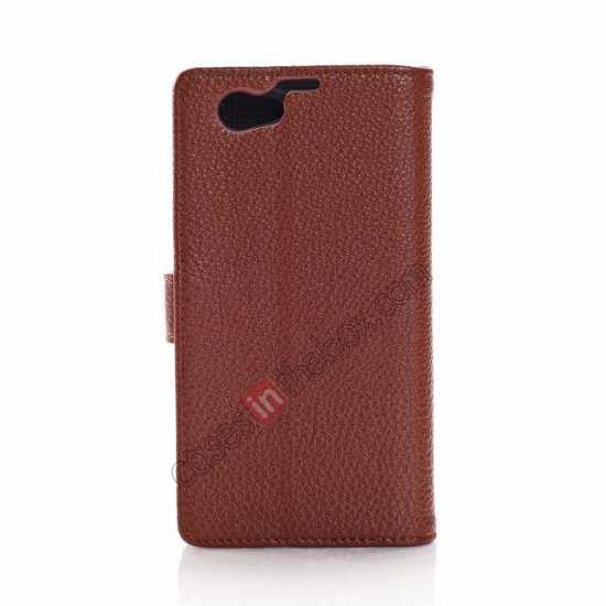 discount Litchi Wallet Leather Stand Case For Sony Xperia Z1 Mini/Z1 Compact/M51w - Brown