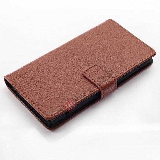 top quality Litchi Wallet Leather Stand Case For Sony Xperia Z1 Mini/Z1 Compact/M51w - Brown