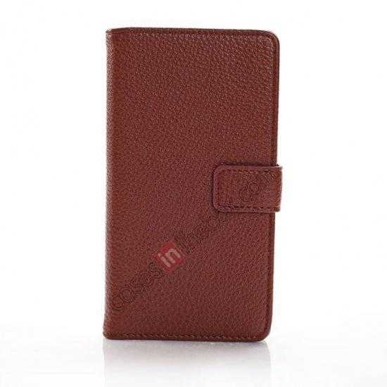 best price Litchi Wallet Leather Stand Case For Sony Xperia Z1 Mini/Z1 Compact/M51w - Brown