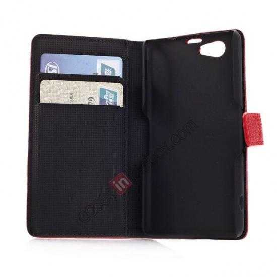 on sale Litchi Wallet Leather Stand Case For Sony Xperia Z1 Mini/Z1 Compact/M51w - Brown
