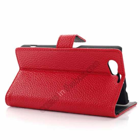 best price Litchi Wallet Leather Stand Case For Sony Xperia Z1 Mini/Z1 Compact/M51w - Red