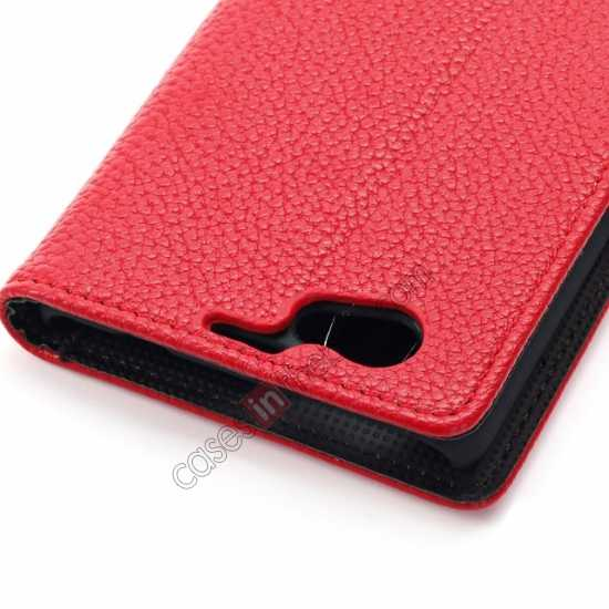 on sale Litchi Wallet Leather Stand Case For Sony Xperia Z1 Mini/Z1 Compact/M51w - Red