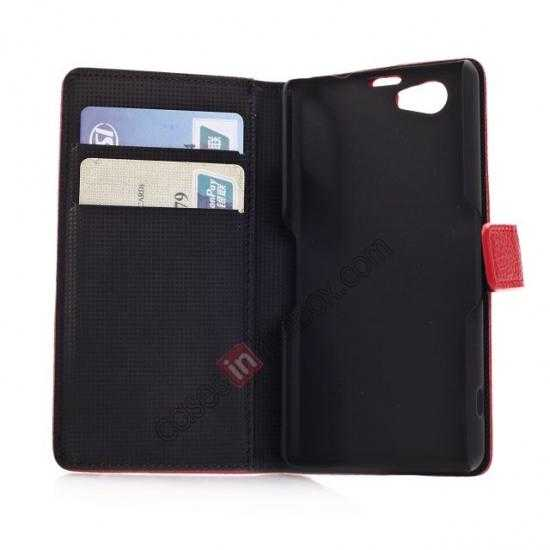 low price Litchi Wallet Leather Stand Case For Sony Xperia Z1 Mini/Z1 Compact/M51w - Red