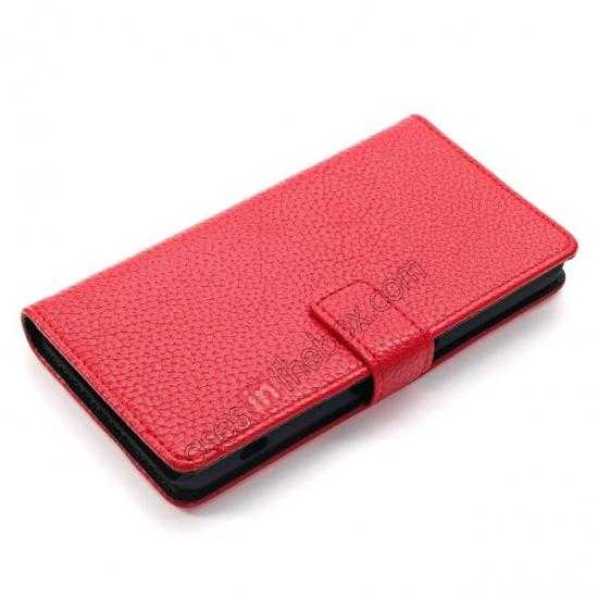 china wholesale Litchi Wallet Leather Stand Case For Sony Xperia Z1 Mini/Z1 Compact/M51w - Red