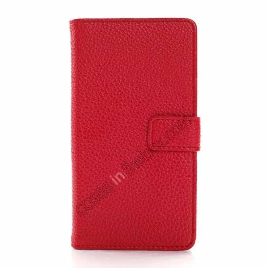 cheap Litchi Wallet Leather Stand Case For Sony Xperia Z1 Mini/Z1 Compact/M51w - Red