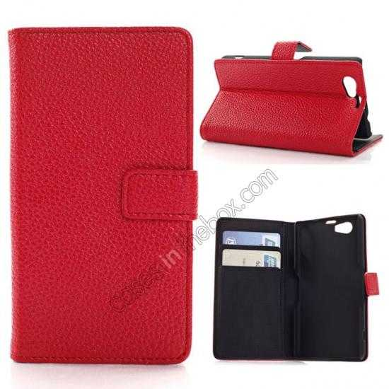 wholesale Litchi Wallet Leather Stand Case For Sony Xperia Z1 Mini/Z1 Compact/M51w - Red