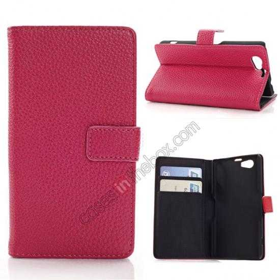 wholesale Litchi Wallet Leather Stand Case For Sony Xperia Z1 Mini/Z1 Compact/M51w - Rose