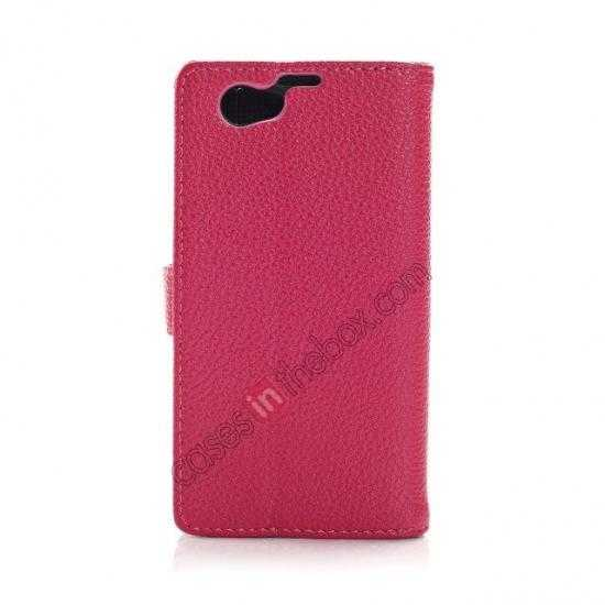 discount Litchi Wallet Leather Stand Case For Sony Xperia Z1 Mini/Z1 Compact/M51w - Rose