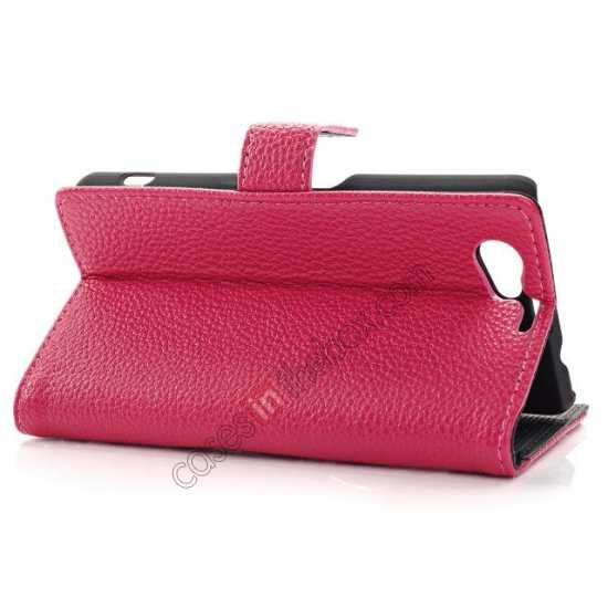cheap Litchi Wallet Leather Stand Case For Sony Xperia Z1 Mini/Z1 Compact/M51w - Rose