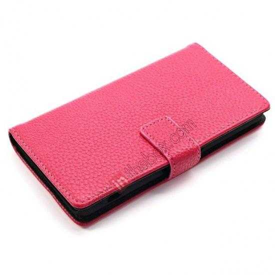 top quality Litchi Wallet Leather Stand Case For Sony Xperia Z1 Mini/Z1 Compact/M51w - Rose