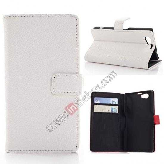 wholesale Litchi Wallet Leather Stand Case For Sony Xperia Z1 Mini/Z1 Compact/M51w - White