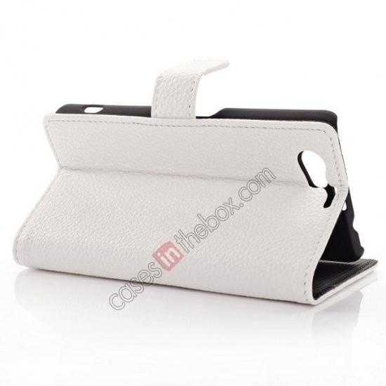 discount Litchi Wallet Leather Stand Case For Sony Xperia Z1 Mini/Z1 Compact/M51w - White