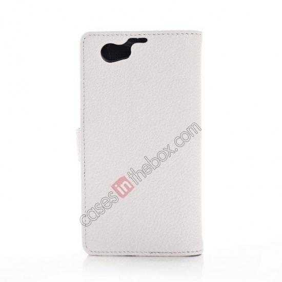 cheap Litchi Wallet Leather Stand Case For Sony Xperia Z1 Mini/Z1 Compact/M51w - White
