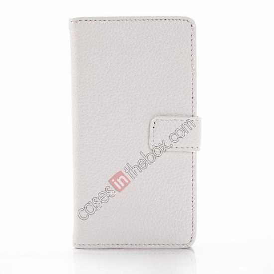 top quality Litchi Wallet Leather Stand Case For Sony Xperia Z1 Mini/Z1 Compact/M51w - White