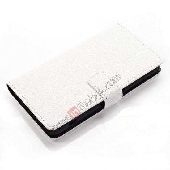 best price Litchi Wallet Leather Stand Case For Sony Xperia Z1 Mini/Z1 Compact/M51w - White