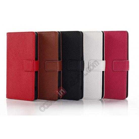 high quanlity Litchi Wallet Leather Stand Case For Sony Xperia Z1 Mini/Z1 Compact/M51w - White