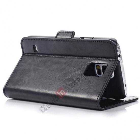 best price Luxury Crazy-Horse Leather Wallet Flip Stand Case For Samsung Galaxy S5 - Black