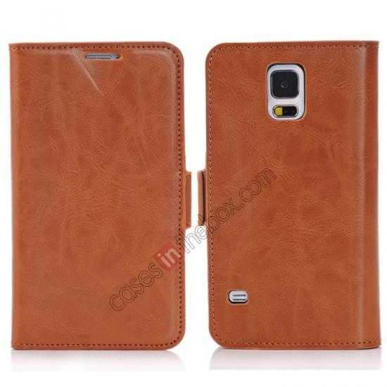wholesale Luxury Crazy-Horse Leather Wallet Flip Stand Case For Samsung Galaxy S5 - Brown
