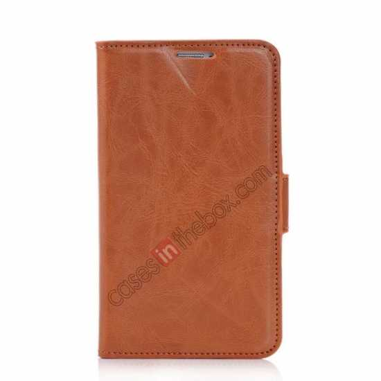 discount Luxury Crazy-Horse Leather Wallet Flip Stand Case For Samsung Galaxy S5 - Brown