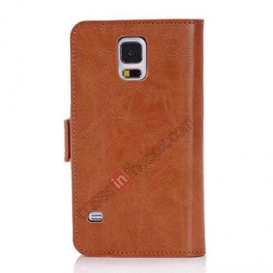 cheap Luxury Crazy-Horse Leather Wallet Flip Stand Case For Samsung Galaxy S5 - Brown