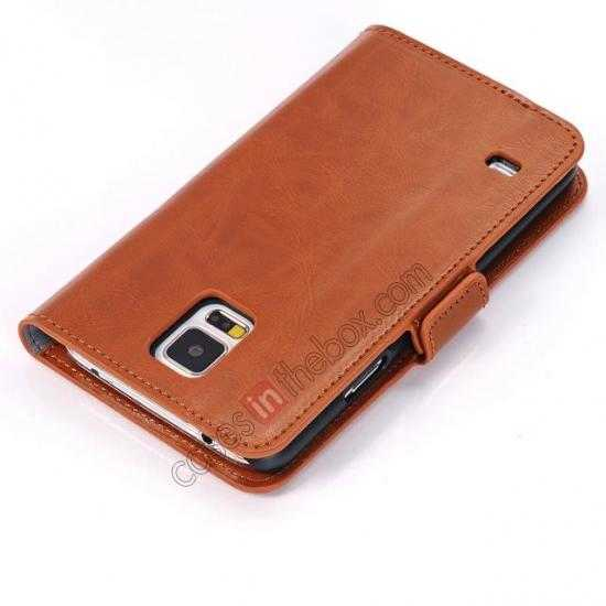 top quality Luxury Crazy-Horse Leather Wallet Flip Stand Case For Samsung Galaxy S5 - Brown