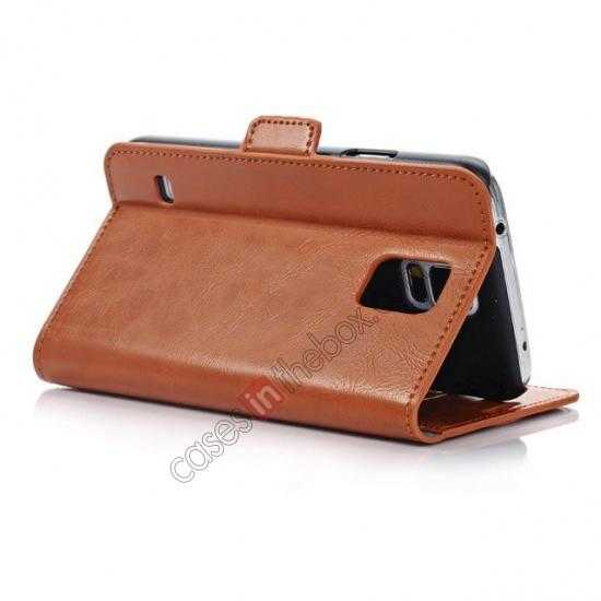 best price Luxury Crazy-Horse Leather Wallet Flip Stand Case For Samsung Galaxy S5 - Brown
