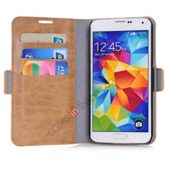 low price Luxury Crazy-Horse Leather Wallet Flip Stand Case For Samsung Galaxy S5 - Brown