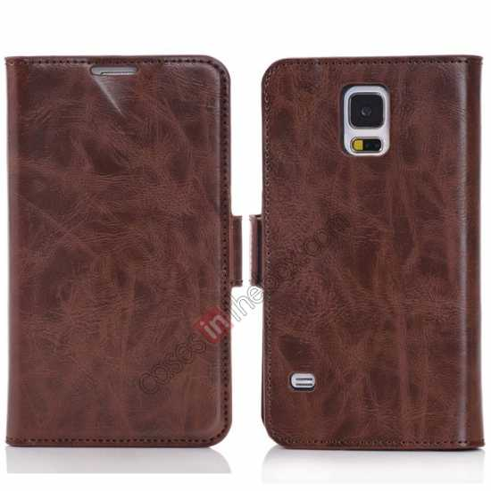 wholesale Luxury Crazy-Horse Leather Wallet Flip Stand Case For Samsung Galaxy S5 - Coffee