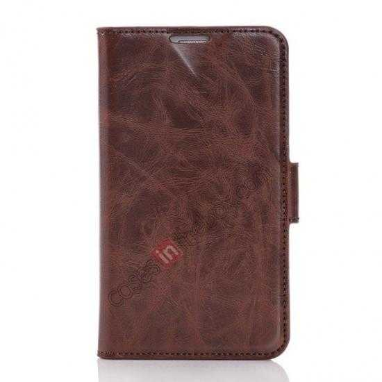 discount Luxury Crazy-Horse Leather Wallet Flip Stand Case For Samsung Galaxy S5 - Coffee