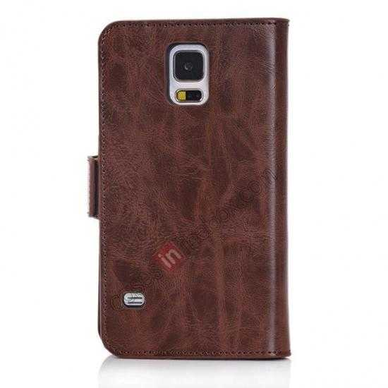 cheap Luxury Crazy-Horse Leather Wallet Flip Stand Case For Samsung Galaxy S5 - Coffee