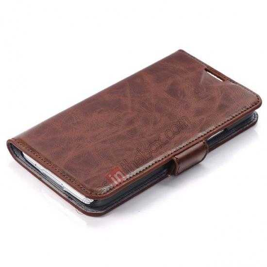 top quality Luxury Crazy-Horse Leather Wallet Flip Stand Case For Samsung Galaxy S5 - Coffee