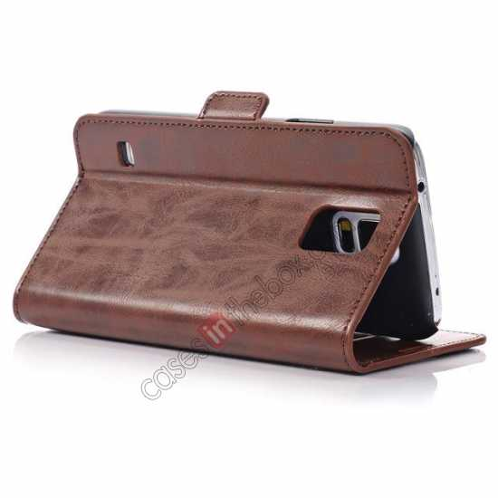 best price Luxury Crazy-Horse Leather Wallet Flip Stand Case For Samsung Galaxy S5 - Coffee