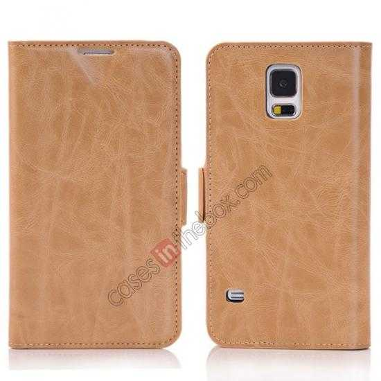 wholesale Luxury Crazy-Horse Leather Wallet Flip Stand Case For Samsung Galaxy S5 - Light Brown