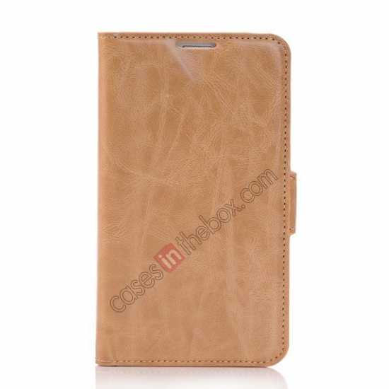 discount Luxury Crazy-Horse Leather Wallet Flip Stand Case For Samsung Galaxy S5 - Light Brown
