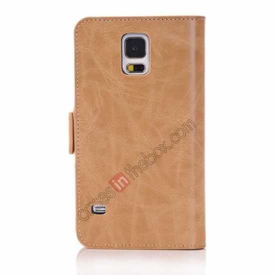 cheap Luxury Crazy-Horse Leather Wallet Flip Stand Case For Samsung Galaxy S5 - Light Brown