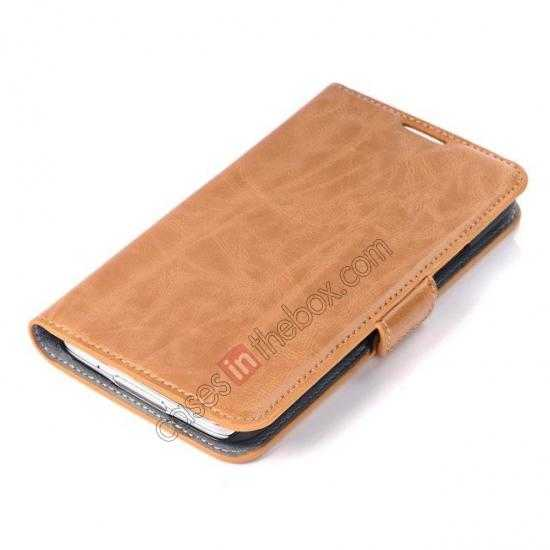 top quality Luxury Crazy-Horse Leather Wallet Flip Stand Case For Samsung Galaxy S5 - Light Brown
