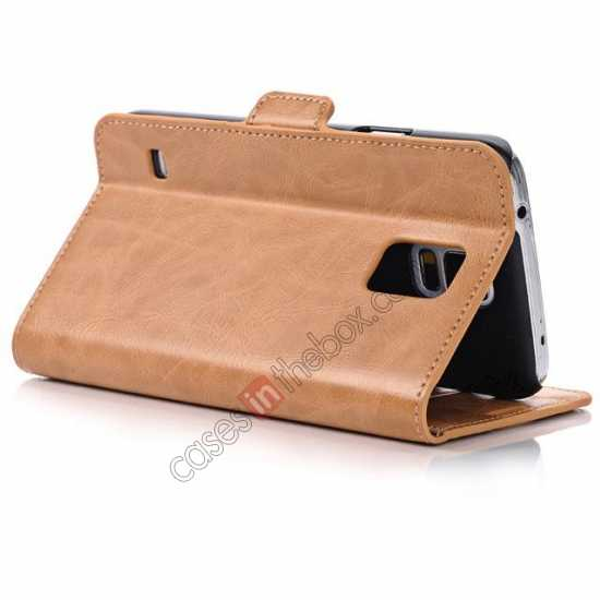 best price Luxury Crazy-Horse Leather Wallet Flip Stand Case For Samsung Galaxy S5 - Light Brown