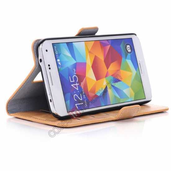 on sale Luxury Crazy-Horse Leather Wallet Flip Stand Case For Samsung Galaxy S5 - Light Brown