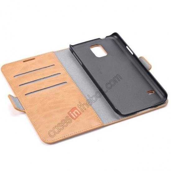 low price Luxury Crazy-Horse Leather Wallet Flip Stand Case For Samsung Galaxy S5 - Light Brown
