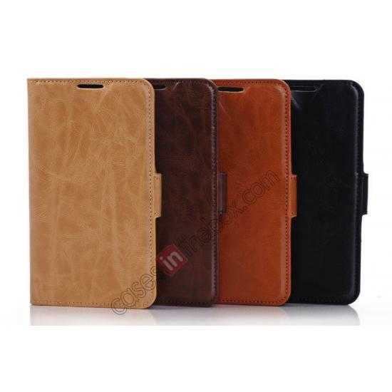 china wholesale Luxury Crazy-Horse Leather Wallet Flip Stand Case For Samsung Galaxy S5 - Light Brown