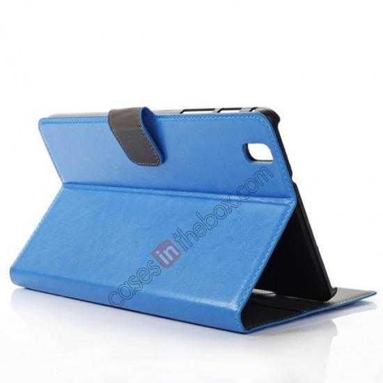 wholesale Luxury Crazy Horse Pattern Leather Stand Case for Samsung Galaxy Tab Pro 8.4 T320 - Blue