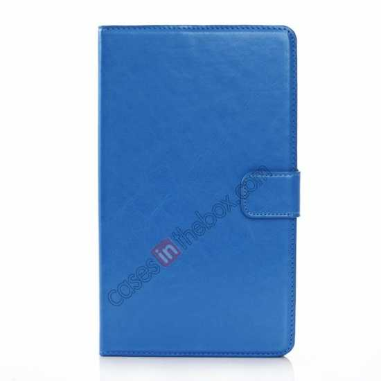 cheap Luxury Crazy Horse Pattern Leather Stand Case for Samsung Galaxy Tab Pro 8.4 T320 - Blue