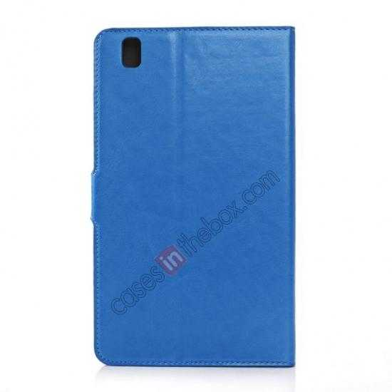 top quality Luxury Crazy Horse Pattern Leather Stand Case for Samsung Galaxy Tab Pro 8.4 T320 - Blue