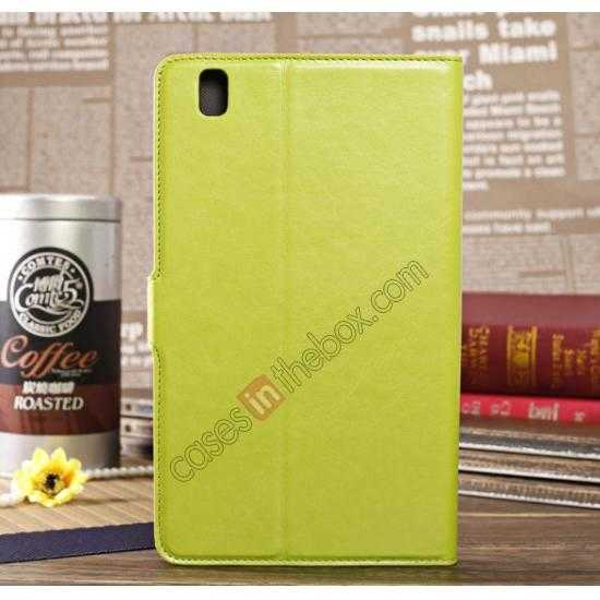 cheap Luxury Crazy Horse Pattern Leather Stand Case for Samsung Galaxy Tab Pro 8.4 T320 - Green